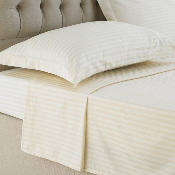 250TC Ivory Stripe flat sheet