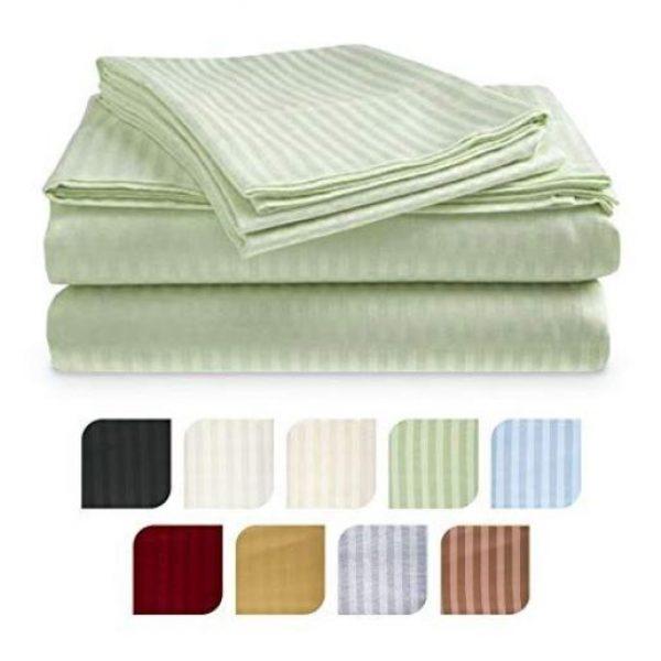 250TC polycotton stripe flat sheet
